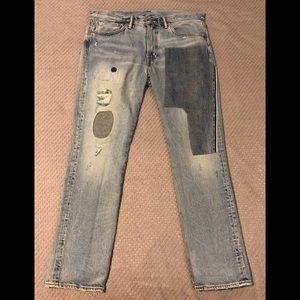 Levi's 511 36x32 Skinny Patchwork Distressed Jeans